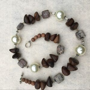 Vintage wood, stone and glass necklace